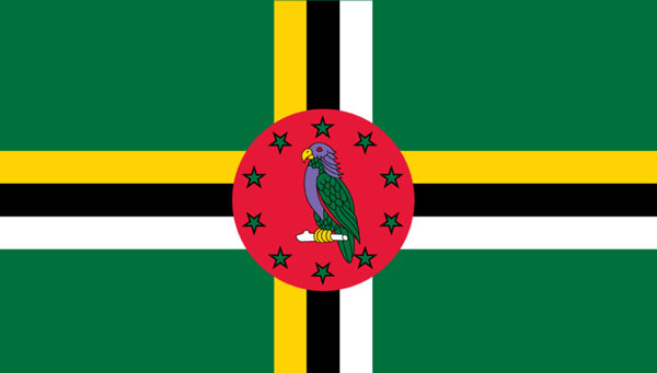 img: The flag of Dominica displaying the Sisserou Parrot.