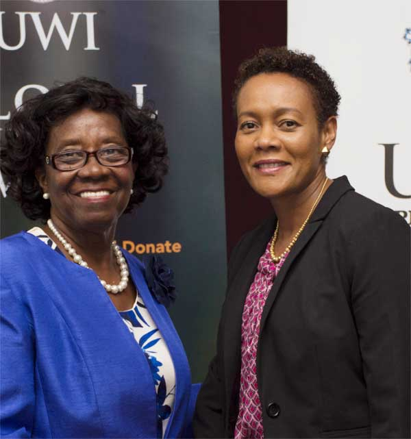 Image: Patron of UWI Global Giving Week, Governor General Dame PearletteLouisy with Ms. Joanna Charles, ECFH's Chief Operations Officer