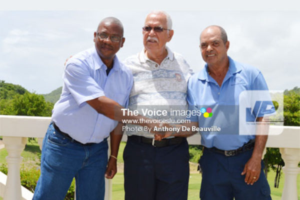 (L-R-) SLNCA Operation Manager Brian Calixte, Mobilization Personnel for the India Tour Joseph 'Reds' Perreira and St. Lucia Golf Association 2nd Prisident Milton McKenzie following Wednewday's conference (PHOTO: Anthony De Beaulville.
