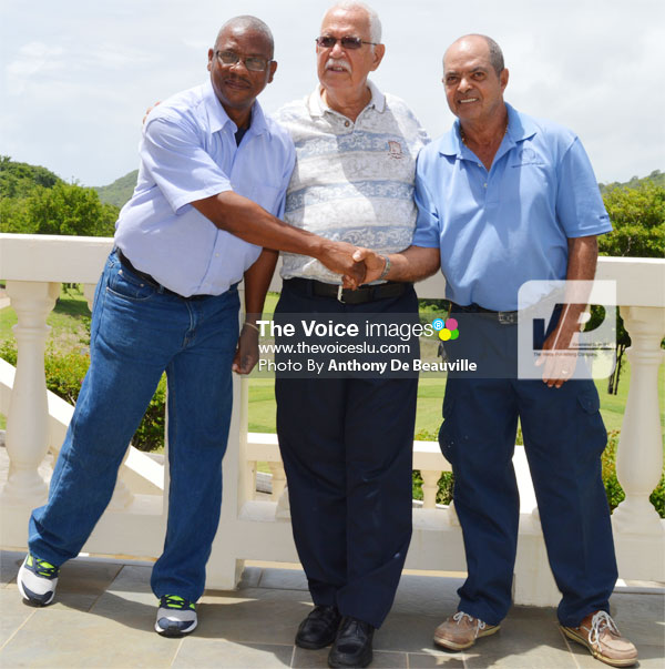 Image: (L-R-) SLNCA Operation Manager Brian Calixte, Mobilization Personnel for the India Tour Joseph 'Reds' Perreira and St. Lucia Golf Association 2nd Prisident Milton McKenzie following Wednewday's conference (PHOTO: Anthony De Beaulville.