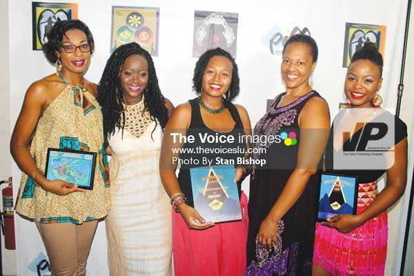 PIFF organizer, Dr. Kathleen E. Walls, (second from right) with some of Saint Lucia's leading talented women.