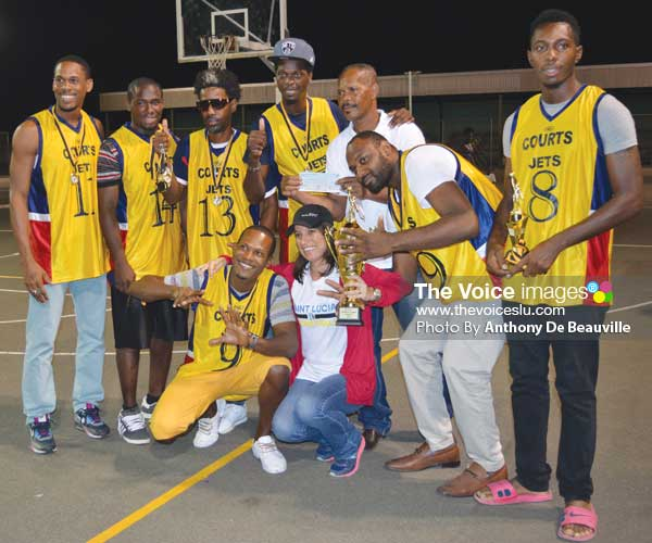 Image: Courts Jets SLBF Premier League Champions celebrate with KFC representative (Photo Anthony De Beauville)