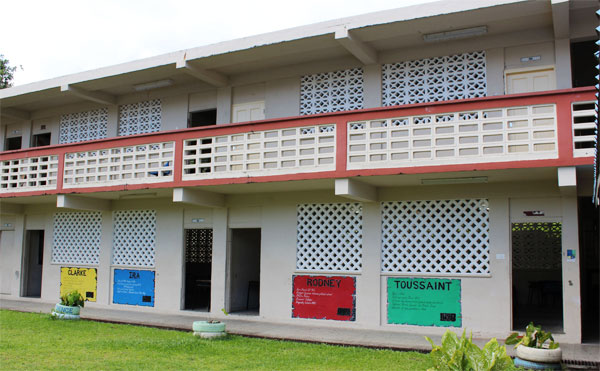 Look carefully at this wing of the Soufriere Comprehensive Secondary School. There are no doors leading to classrooms.