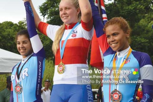 Image: (L-R) Medalists in Women's Time Trials, CharlietteGolderos -Truillio (Puerto Rico), Alyssa Rowse (Bermuda) and Jougna Baez -Jimenez (Puerto Rico) - (Photo Anthony De Beauville)