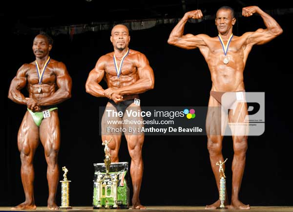 Image: (L-R) St, George Prospere, 2nd Orville James-national champion and Winston Spooner, 3rd (Photo Anthony De Beauville)