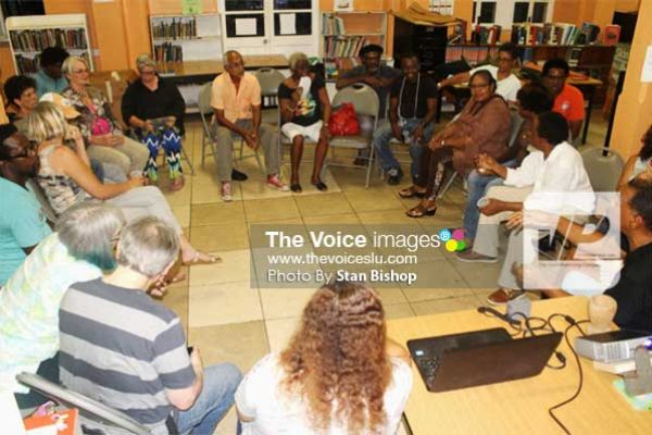 Image: The Artist Circle discussing ways to revolutionize art appreciation in Saint Lucia. [PHOTO: Stan Bishop]