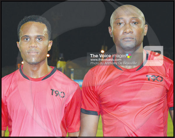 img: (L-R) Marchand goal scorers against Vieux Fort North, Perseus Narcis and Lincoln Phillip. (Anthony De Beauville)