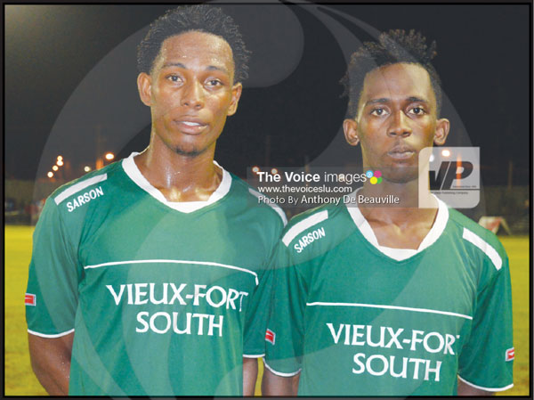 img: (L-R) Vieux Fort South goal scorers Antonio Joseph (hat trick) and Jervic Mc Farlane. (Anthony De Beauville)