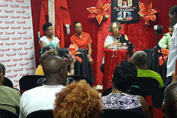 img: Digicel's Marketing Executive Louise Victor at KiddiCrew press launch along with KiddiCrew producer June Frederick and other sponsors.