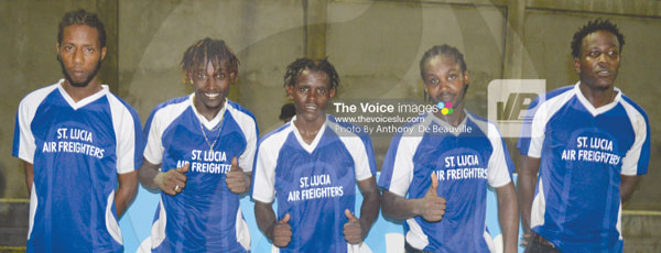 img: (L-R) Gros Islet goal scorers against Mabouya Valley Aramis Lorde, Troy Greenidge, Nicholas Lawrence, Everton Lambert and Eden Charles. (Photo: Anthony De Beauville)