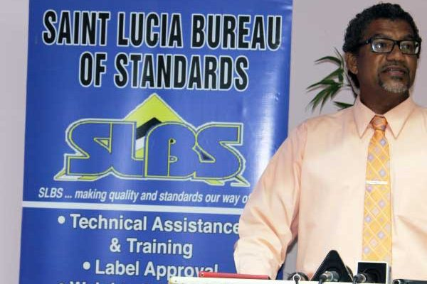 Image: Minister Felix speaking at the SLBS yesterday. PHOTO: By PhotoMike