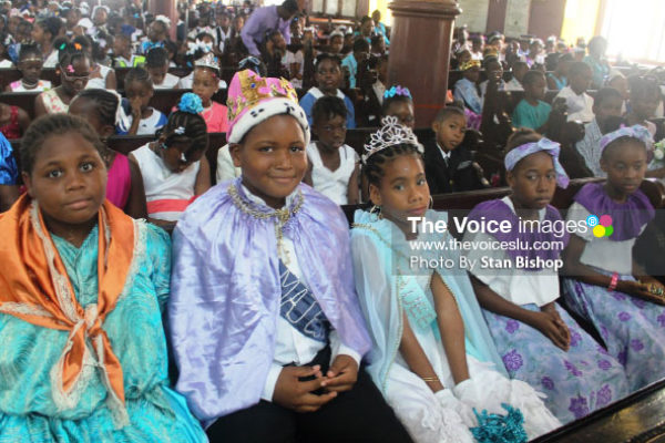 Image: Students dressed to the nines in La Marguerite garb at yesterday's service at the Minor Basilica of the Immaculate Conception. [PHOTO: Stan Bishop]