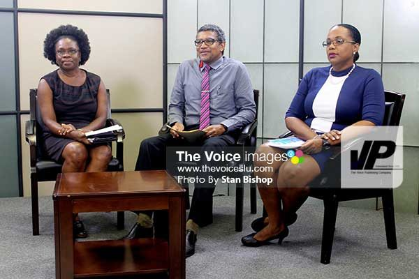 Image: (From left to right: Chief Executive Officer, Trade Export Promotion Agency (TEPA), Jacqueline Emmanuel-Flood; Minister for Commerce, International Trade, Investment, Enterprise Development and Consumer Affairs, Bradly Felix; and Director, Saint Lucia Bureau of Standards (SLBS), Dr.Mkabi Walcott. [PHOTO: Stan Bishop]