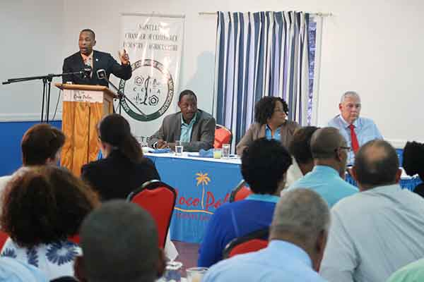 Image: ECCB Governor Timothy Antoine addressing the business community.