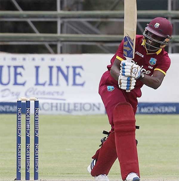 Image: Left-hander Jonathan Carter plays through the on-side during his 54 against Sri Lanka in the Tri-Nations Series on Wednesday. (Photo courtesy WICB Media)