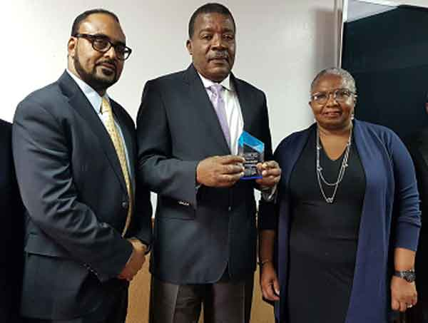 Image: Left to Right: Mr. Isaac Anthony - CCRIF CEO, Hon. Yves Bastien - Haiti's Minister of Finance, and Ms. Cheryl Dixon - Head of the Sustainable Development Unit at the Caribbean Development Bank (CDB) at a ceremony recognizing payment of US$23.4 million by CCRIF to the Government of Haiti on its tropical cyclone and excess rainfall policies. The CDB has paid Haiti's CCRIF policy premiums for the past five years.