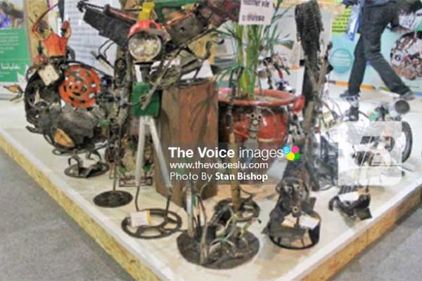 Image: Recycled garbage shaped into artistic pieces. [PHOTO: Stan Bishop]