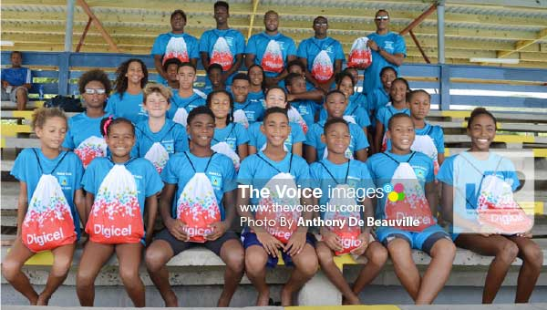 Image: Saint Lucia OECS Swim Team before departure haul a combined 71 medals at the 26th edition of the championship. (Photo: Anthony De Beauville)
