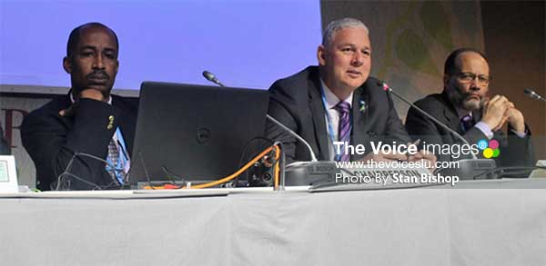 Image: Saint Lucia's Prime Minister Allen Chastanet chairing last Monday's CARICOM Ministerial Meeting in Marrakech. [PHOTO: Stan Bishop]