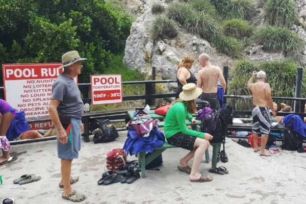 Image: Tourists cooling out at the Sulplur Springs.