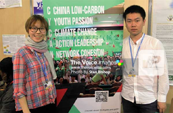 Image: Youth Delegate Jingyi Liu (left) and Project Officer Kongrui Li (right). [PHOTO: Stan Bishop]