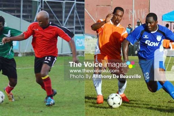 Image: (L-R) some of the showpiece between Vieux Fort South and Laborie; some of the action between BTC and FLOW Lancers FC. (Photo: Anthony De Beauville)