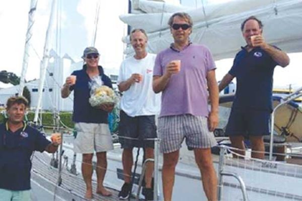 Image: ARC+ Laumare crew taking in a local beverage on arrival (Photo: WCC)