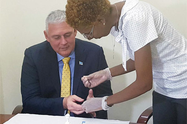 Image: Prime Minister Allen Chastanet set the example for the rest of the nation on Thursday by voluntarily taking an HIV test.