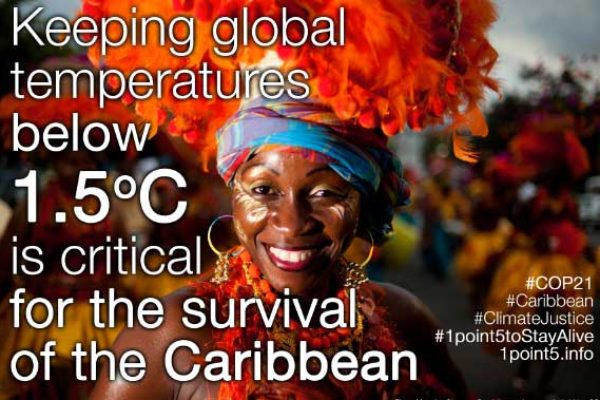 Image: Caribbean poster at COP21 last year.