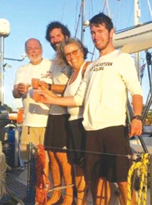 Image: Crew members of ARC+ Mariela  says Yes!!!! Time out for a good Saint Lucian beverage (Photo: WCC)