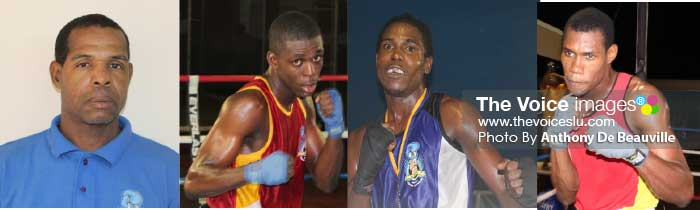 Image: (L-R) Head Coach Conrad Fredrick, boxers Lyndell Marcellin, Arthur Langelier and Marvin Anthony. (Photo: Anthony De Beauville)
