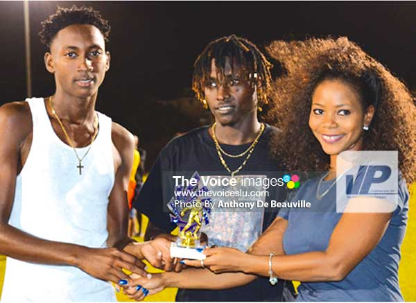 Image: (l-r) Tev Lawrence and Troy Greenidge receiving joint award for most goals scored in the tournament from Sports Saint Lucia Online representative (Photo: Anthony De Beauville)