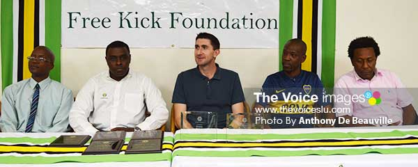 Image: ( l-r) PS Sports Donavan Williams, FKF CEO Arron , coaches – Paul Snapa, Frank Taal and SLFA President Lyndon Cooper (Photo: Anthony De Beauville)