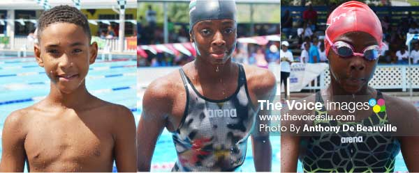 Image: Vying for spots on Team Saint Lucia - D' Andre Blanchard, Naekeisha Louis and Eden Crick. (Photo: Anthony De Beauville)