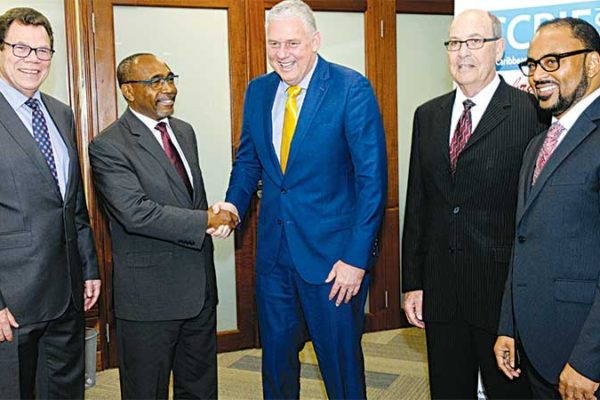 Image: At the launch of CCRIF's 10th Anniversary celebrations on February 20, 2017 at the CDB, Barbados. L-R: Dr. Warren Smith, President, Caribbean Development Bank; Senator the Hon. Darcy Boyce, Minister in the Barbados Office of the Prime Minister; Hon. Allen Chastanet, Prime Minister of Saint Lucia; Mr. Milo Pearson, Chairman, CCRIF SPC and Mr. Isaac Anthony, CEO, CCRIF SPC