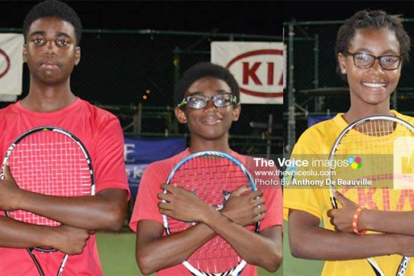 Image: (l-r) Boys' Under-14 doubles champions Maxx Williams and Aiden Bousquet; Girls Under–14 open champion NadjemaMorille(Photo: Anthony De Beauville)