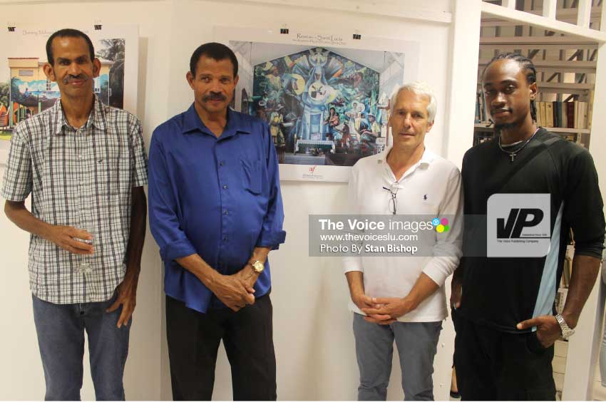 Image: Pascal Maillet-Contoz (second from right) with Julio and Alwyn St. Omer and Valentious Williams at Thursday evening's official opening at Alliance Francaise.  [PHOTO: Stan Bishop]