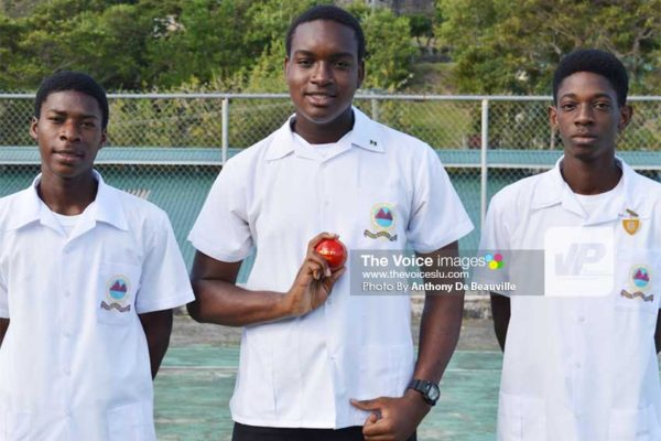 Image: (L-R) SMC captain Rahym Joseph, seamer Nyheem Rosemond and century maker Steven Mitchell. (PHOTO: Anthony De Beauville)