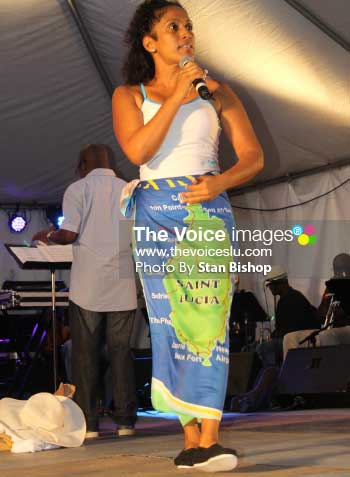 Image of Francene Beharry performing at the Inter-Commercial House Calypso Competition two years ago. [PHOTO: Stan Bishop]