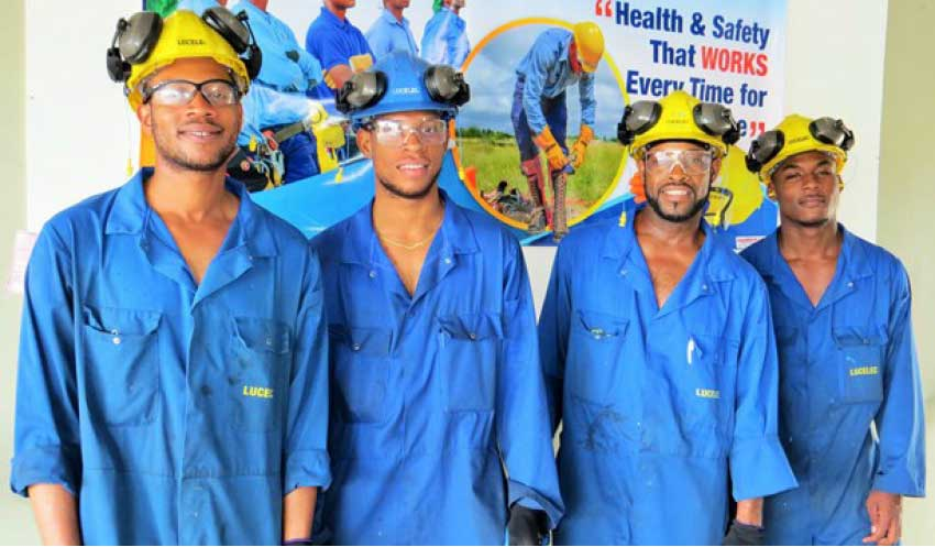 Image: Four members of the 6-person LUCELEC Generation Department who were awarded the 2016 Safety Award during the launch of the company's 21st Annual Health, Safety, Environment and Fire Awareness Month