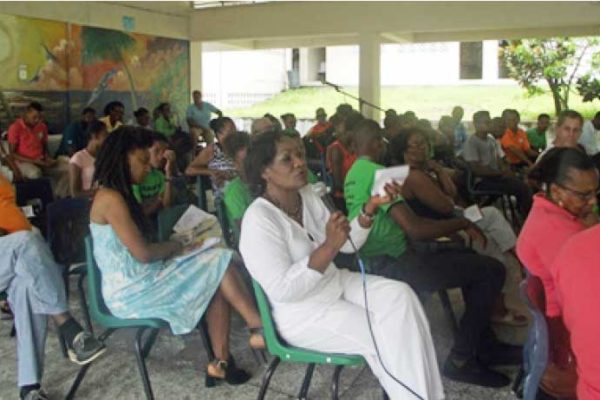 Image: National Trust members at a meeting in Soufriere last year.