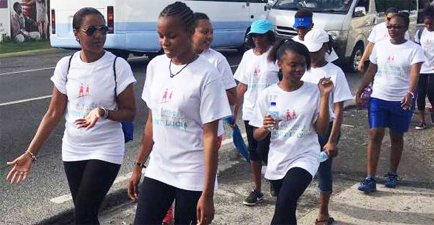 Image: Young women participating in Saturday's mentoring walk
