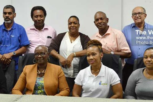 Image: Front row: SLOC President Fortuna Belrose (second from left) with members of her new executive following Friday's elections. (PHOTO: Anthony De Beauville)