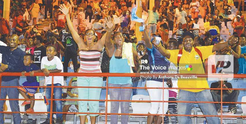 Image: Canaries fans celebrating their team 3–1 victory against VFS. (PHOTO: Anthony De Beauville)