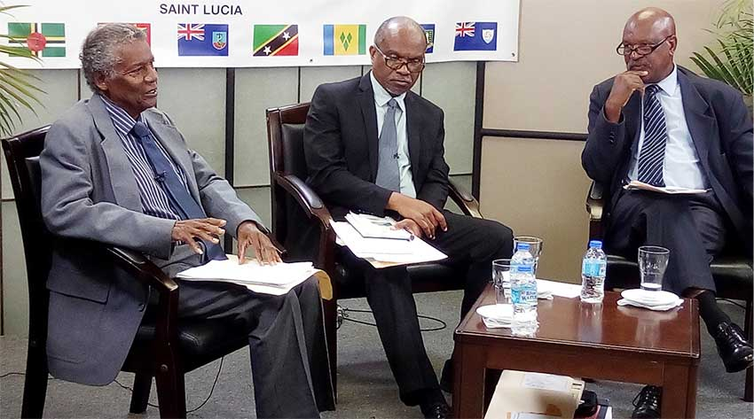 Image: (From left to right): Francis, Belle and Seraphin at yesterday's press conference. [PHOTO: PhotoMike]