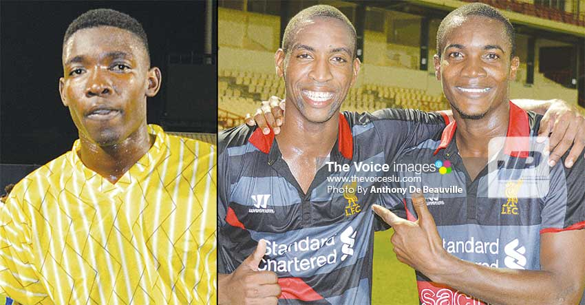 Image: (L-R) Goal scores on the night National Under -21 Arron Richards; Canaries David Henry and Bradley Tisson celebrate. (PHOTO: Anthony De Beauville)