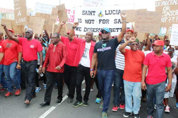 Image: HUNDREDS of supporters joined the St. Lucia Labour Party (SLP) in its first protest march against the Allen Chastanet government yesterday.