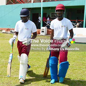 Image: (L-R) Sir Arthur Lewis Community College's opening pair Jarde Goodman and Dane Edward put on 196 runs for the first wicket. (Photo: Anthony De Beauville)