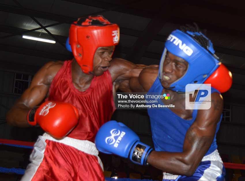 Image: Kareem Boyce turns on the heat versus Nelon Cyrus, also of Grenada. (Photo: Anthony De Beauville)