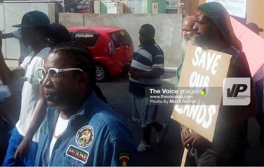 Image: Men bearing placards.